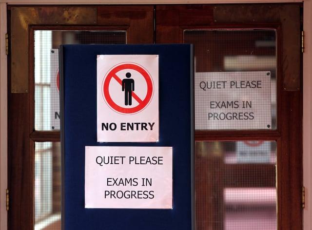 An exams sign