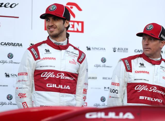 Kimi Raikkonen (right) and Antonio Giovinazzi have signed with Alfa Romeo again for next season