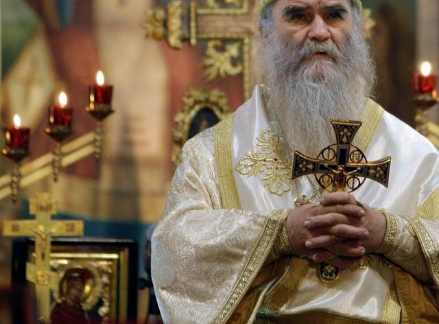 Bishop Amfilohije (Darko Vojinovic/AP)