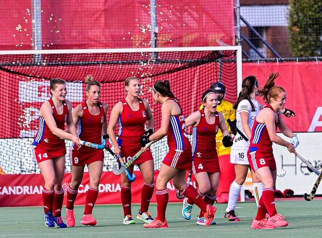 GB celebrate taking two points on Saturday afternoon