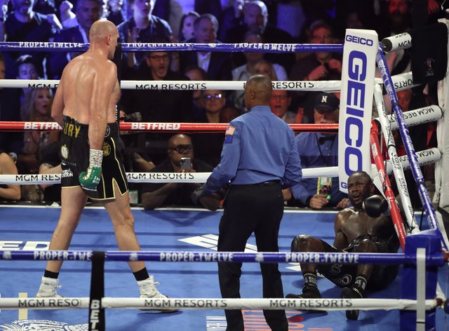 <p>Wilder was dropped twice before being stopped in the seventh round by Fury</p>