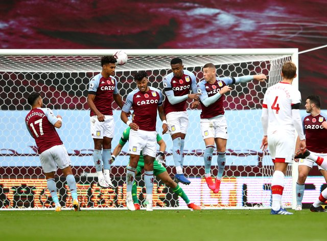 James Ward-Prowse (right) scores the second of his two freekick goals in a 4-3 Southampton win against Aston Villa.