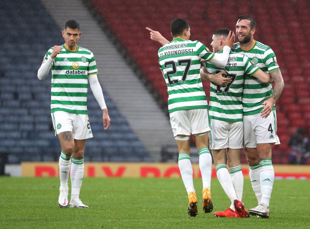 Ryan Christie (second right) scores Celtic's cup semi opener
