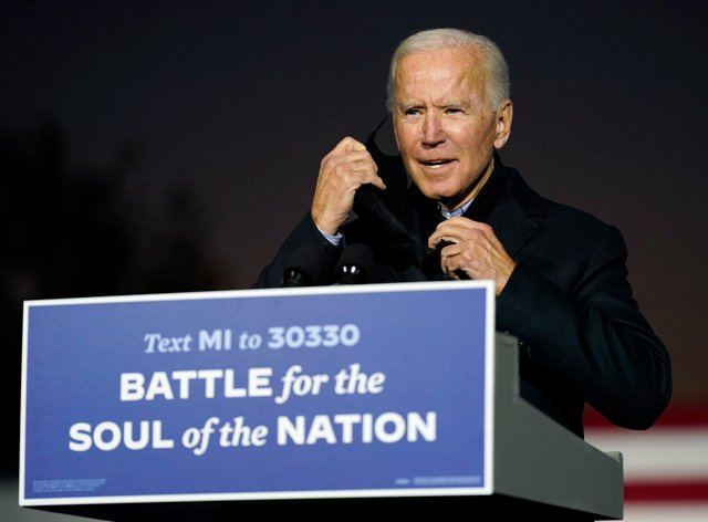 Joe Biden was to hold two events in Pennsylvania on Sunday (Andrew Harnik/AP)