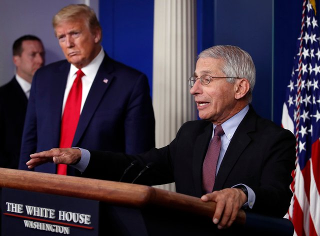 US President Donald Trump, left, and Dr Anthony Fauci