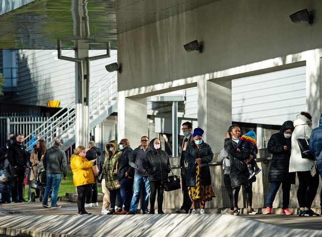 Shoppers queue outside a Costco store in Birmingham, ahead of a national lockdown for England from Thursday (Jacob King/PA)