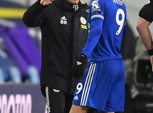 Leicester manager Brendan Rodgers congratulates Jamie Vardy