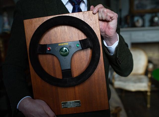 The steering wheel used by F1 legend Ayrton Senna