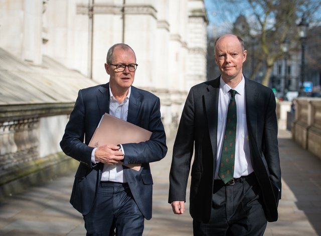 Chief scientific adviser Sir Patrick Vallance, left, and chief medical officer for England Chris Whitty