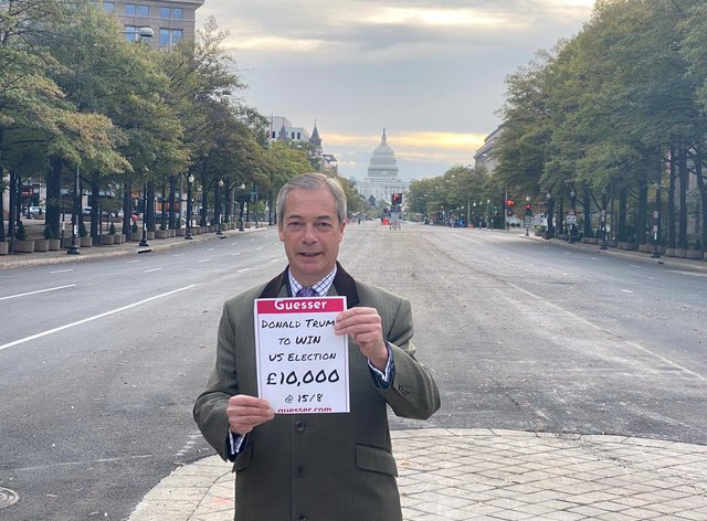 Farage posted the photo of his bet late on Tuesday night