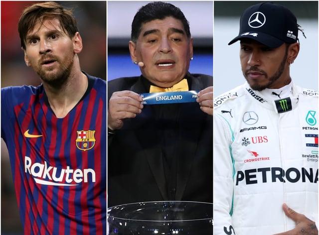Lionel Messi, Diego Maradona and Lewis Hamilton