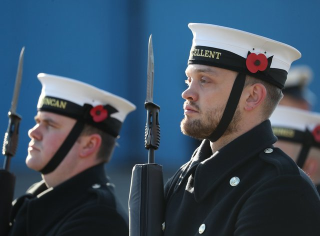 Royal Navy ratings as they take part in a training exercise