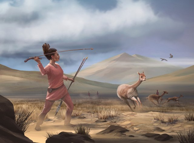 An illustration depicting a female who may have appeared in Peru 9,000 years ago
