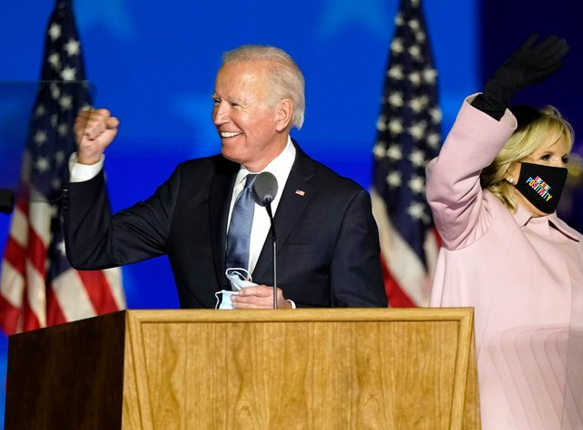 Joe Biden arrives with his wife Jill to speak to supporters in Wilmington, Delaware