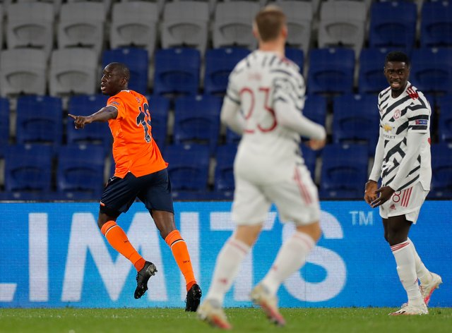 Demba Ba, left, was on target as Basaksehir pulled off a shock Champions League win over Manchester United in Istanbul