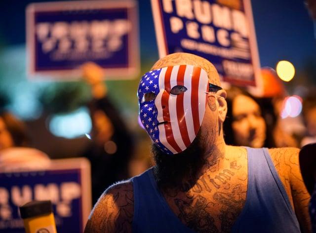 A protester in Las Vegas