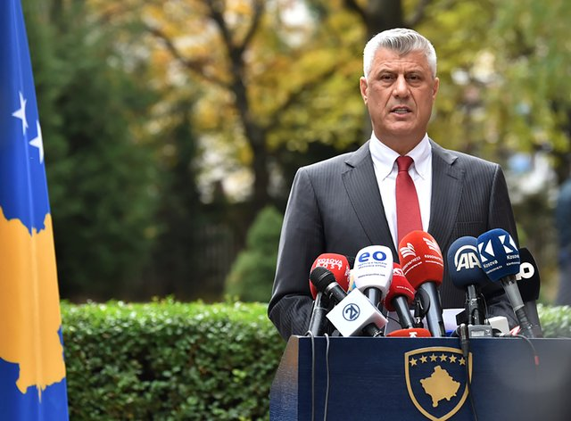 Kosovo president Hashim Thaci addresses the nation as he announced his resignation to face war crimes charges (Visar Kryeziu/AP)