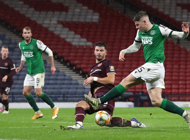 Hibernian's Kevin Nisbet, right, took on Hearts just days after his father's death