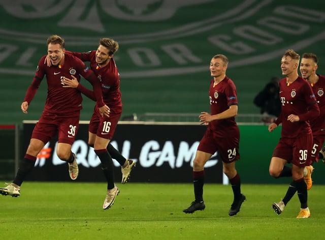 Sparta Prague's Lukas Julis (left) scores against Celtic