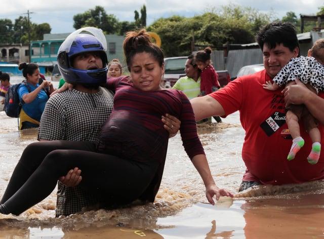 A flooding rescue scene in Honduras