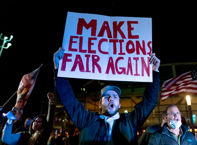An election protest in Detroit