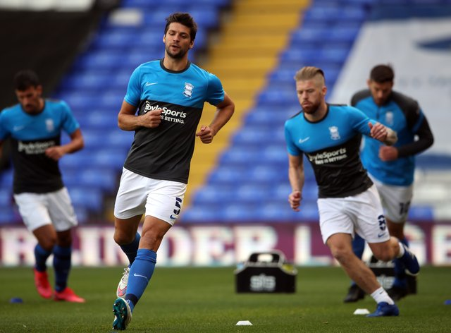 George Friend (centre) may miss Birmingham's clash against Bournemouth (Nick Potts/PA)