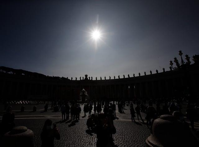 Statues adorn the Bernini Colonnade at the Vatican (Alessandra Tarantino/AP)
