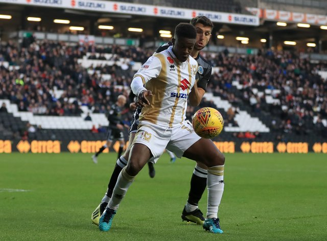 MK Dons' Kieran Agard will be hoping for a rare outing in their FA Cup tie at non-league Eastleigh