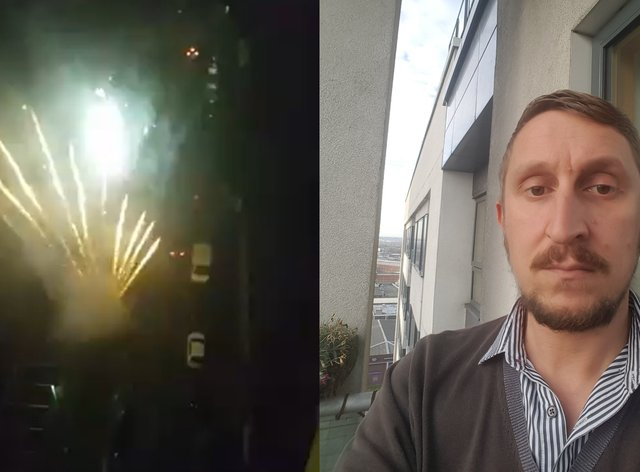 Fireworks go off outside a block of flats in Manchester, filmed by resident Stephen Squires (right)