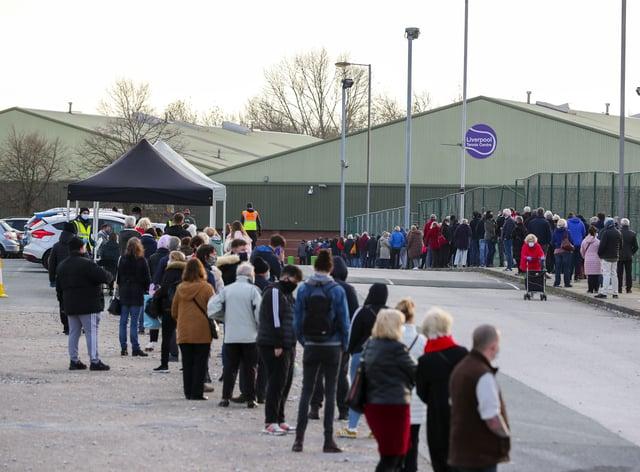 People queue at a coronavirus testing centre
