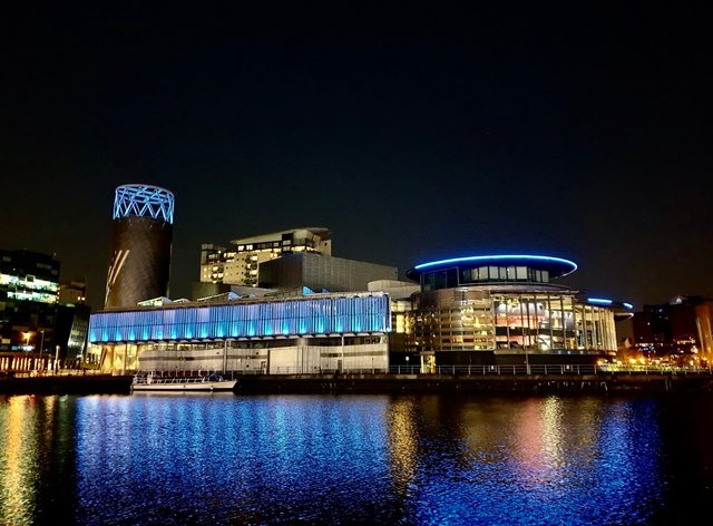 The Lowry lit up in blue