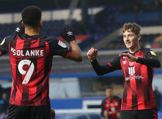 David Brooks (right) celebrates his second goal against Birmingham