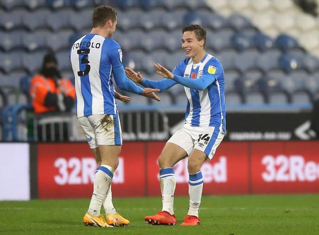 Huddersfield's Carel Eiting celebrates his goal