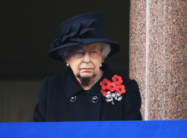 The Queen during the Remembrance Sunday service at the Cenotaph