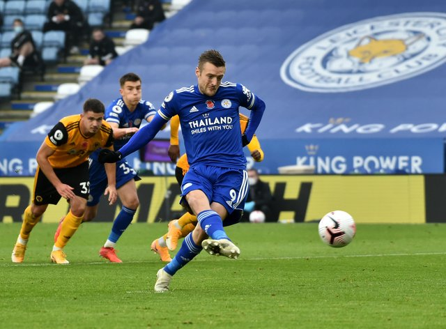 Leicester's Jamie Vardy opened the scoring from the spot before having another penalty saved