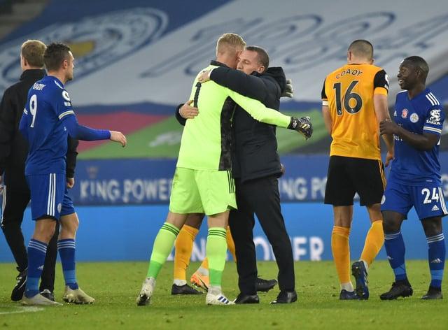 Leicester manager Brendan Rodgers congratulates goalkeeper Kasper Schmeichel