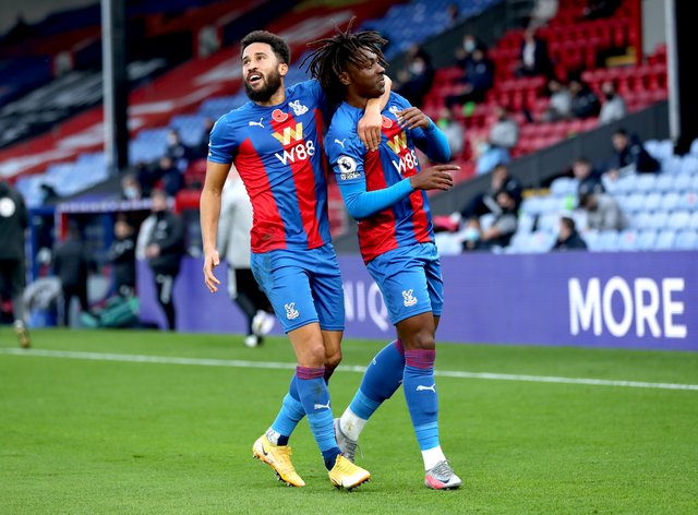 Ebere Eze, right, scored his first goal for Crystal Palace and in the Premier League during the 4-1 win over Leeds