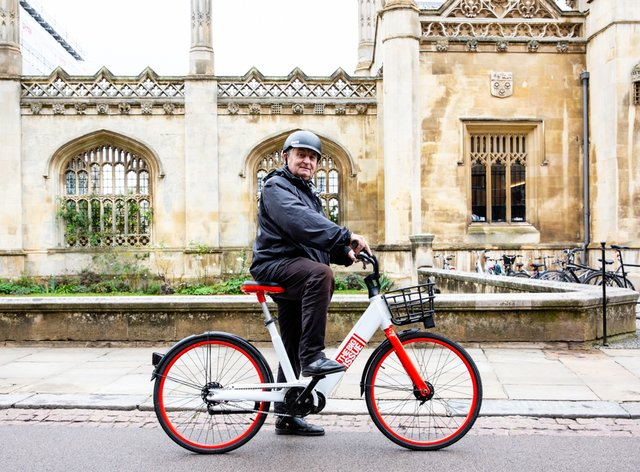 Lord John Bird tries out a Big Issue electric bike