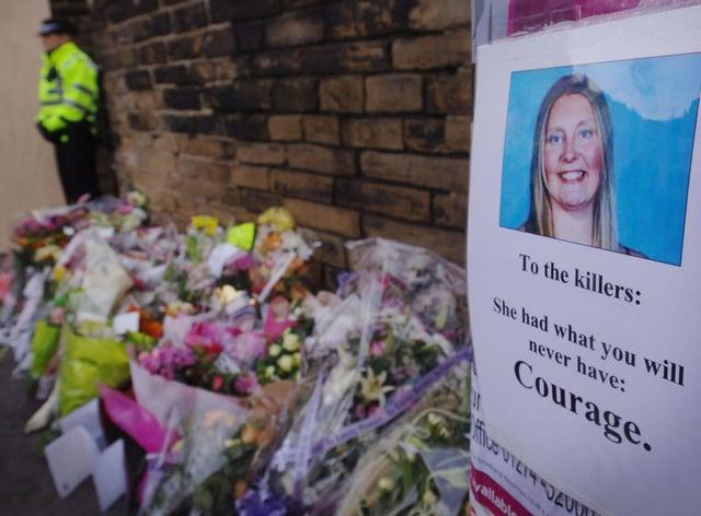 Flowers at the scene of the murder of Sharon Beshenivsky