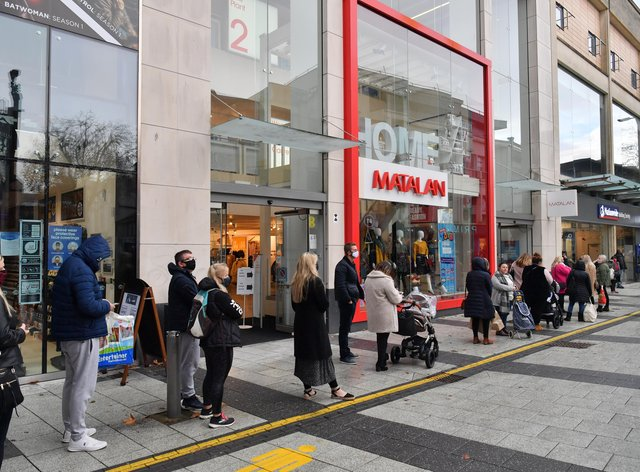 Shoppers queuing for Matalan in Cardiff, as restrictions are relaxed following a two-week 'firebreak' lockdown across Wales (Ben Birchall/PA)