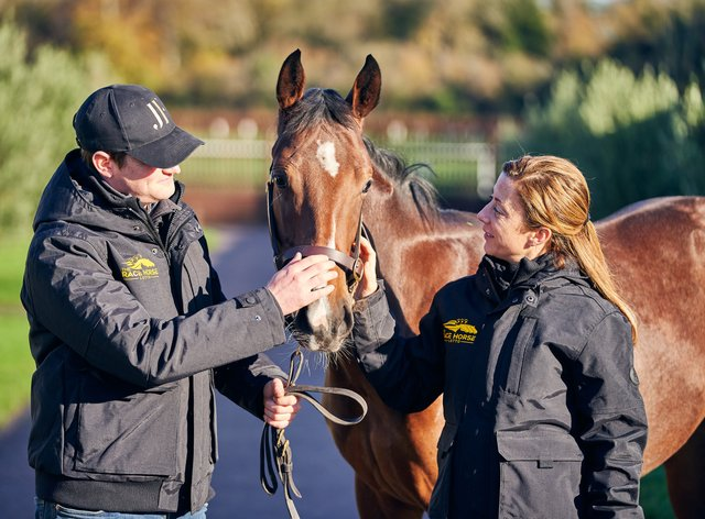James Ferguson and Hayley Turner with the filly that will be running for one lucky raffle prize winner next year
