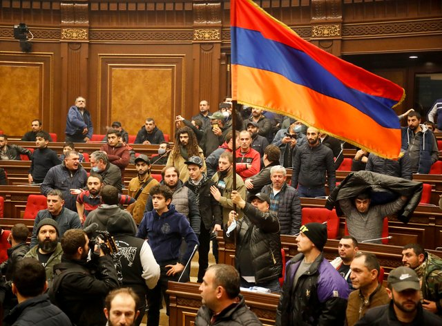 Protesters in the Armenian parliament