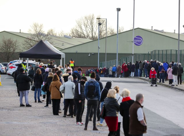 A queue at a coronavirus testing centre in Liverpool