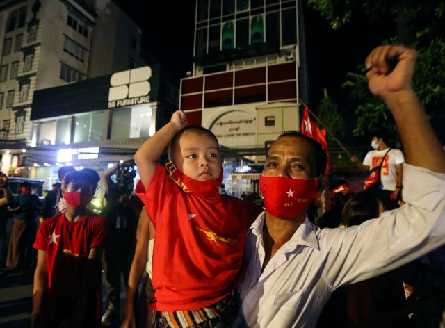 NLD supporters in Myanmar