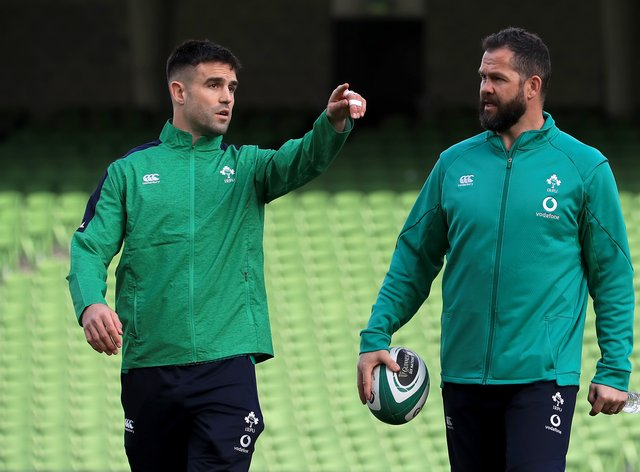 Conor Murray, left, has been named on Ireland's bench for the clash with Wales by head coach Andy Farrell