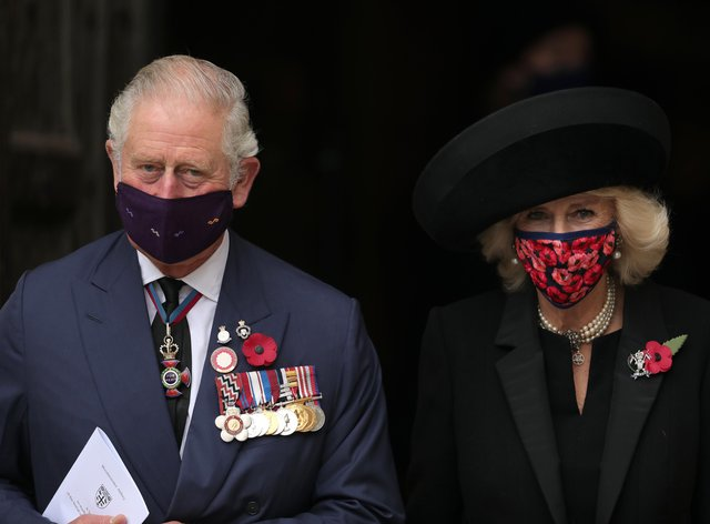The Prince of Wales and the Duchess of Cornwall leave Westminster Abbey in London, after attending a service to mark Armistice Day and the centenary of the burial of the unknown warrior.Aaron Chown/PA Wire