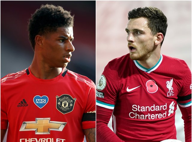 Liverpool defender Andy Robertson (right) feels football can unite behind Marcus Rashford's social campaign