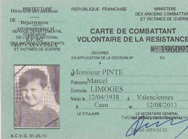 Marcel Pinte's resistance card