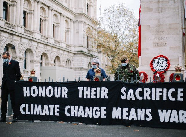 Extinction Rebellion staged the protest on Armistice Day (The Lightscaper/XR)