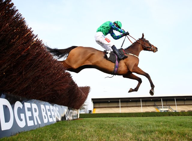 Ga Law bounds over a fence on his way to winning the 'Rising Stars' Novices' Chase at Wincanton